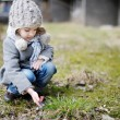 Little toddler girl touching hepatica flowers — Stock Photo
