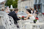 Bride and groom outdoors — Stock Photo