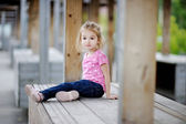 Adorable girl portrait outdoors at summer — Stock Photo