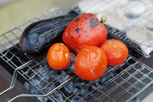 Grilling vegetables on pan — Stockfoto