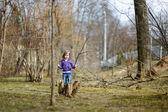 Adorable little girl having fun in a park — Stock Photo