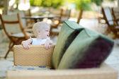 Little girl portrait in outdoor restaurant — Stock Photo