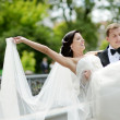 Groom carrying his bride — Stock Photo