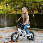 Adorable girl riding a bike on autumn day — Stock Photo #43460941