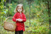 Cute little girl picking mushrooms — Stock Photo