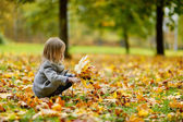 Adorable girl having fun on autumn day — Stok fotoğraf