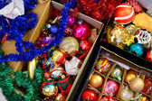 Various colorful Christmas decorations — Stock Photo