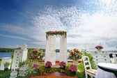 White fancy door as a wedding arch — Foto Stock