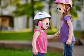 Little girl ready to ride a bicycle — Stock Photo