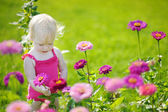 Adorable toddler girl portrait outdoors — Stock Photo