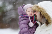 Young father and his daughter at winter day — Stock Photo