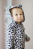 Adorable little girl in spotty hoody — Stock Photo