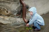 очаровательны малыш девочка в дождливый день — Стоковое фото