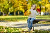 Adorable little girl having fun on autumn day — Stock Photo