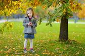 Little girl gathering acorns on autumn day — Stock Photo