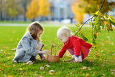 Little girls gathering acorns on autumn day — Foto Stock