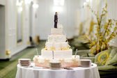 Beautiful white wedding cake — Stockfoto