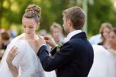 Bride and groom getting ready for a wedding — Foto de Stock