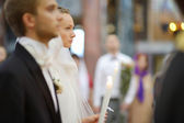 Bride and groom during a wedding ceremony — Stock Photo