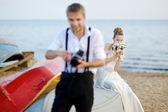 Bride posing for her groom — Foto de Stock