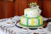 Striped wedding cake — Stock Photo