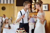 Happy bride and groom cutting their wedding cake — Foto de Stock