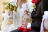 Bruden och brudgummen håller champagneglas — Stockfoto