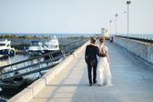 Happy bride and groom walking on pier — Stockfoto
