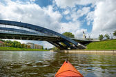 Kayak paddling on river — Stock Photo