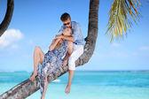 Beautiful young couple sitting on palm tree — Stock Photo