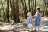 Two little sisters outdoors at summer day — Stok fotoğraf