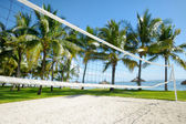 Tropical resort with volleyball court — Foto Stock
