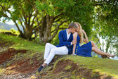 Young couple on a tropical island — Stock Photo