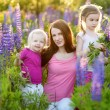 Sisters and mother in lupine field — Stock Photo #49276823
