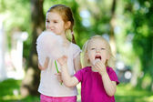 Little sisters eating candy-floss — ストック写真