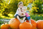 Sisters sitting on pumpkins — Stockfoto