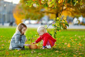Sisters gathering acorns — Stock Photo