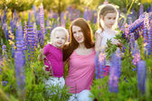 Sisters and mother in lupine field — Stock Photo
