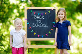 Two   sisters by  chalkboard — Stock Photo