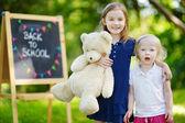 Two  little sisters by   chalkboard — Stock Photo