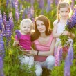 Sisters and mother in lupine field — Stock Photo #49612137