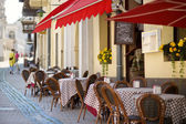 Outdoor restaurant in Vilnius — Stock Photo