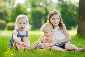 Three adorable little kids outdoors — Stock Photo