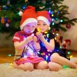 Sisters decorating Christmas tree — Stock Photo #51579015