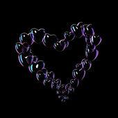 Many soap bubbles and heart shape — Stock Photo