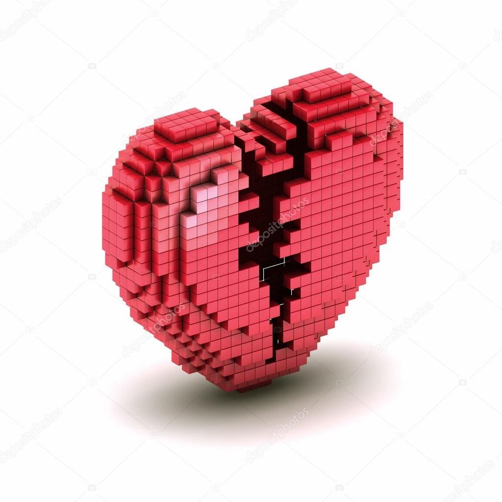 Conceptual symbol of  broken orthogonal heart from boxes. Icon of voxel or pixel heart — Stock Photo #18312471