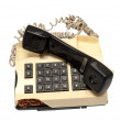 Telephone collection - crashed phone on white background - Stock Photo