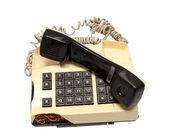 Collection téléphone - téléphone s'est écrasé sur fond blanc — Photo