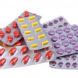 Medicine pills and capsules packed in blisters — Stock Photo