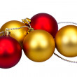 Stock Photo: Golden and red Christmas balls